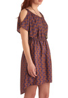 How Acute Dress - Mid-length, Purple, Brown, Print, Buttons, Cutout, Casual, Sheath / Shift, Short Sleeves, Vintage Inspired, 20s, 30s