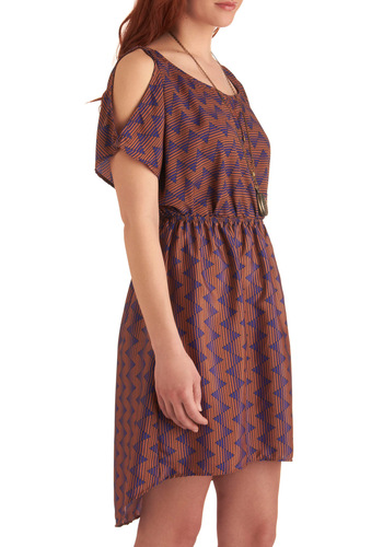 How Acute Dress - Mid-length, Purple, Brown, Print, Buttons, Cutout, Casual, Shift, Short Sleeves, Vintage Inspired, 20s, 30s