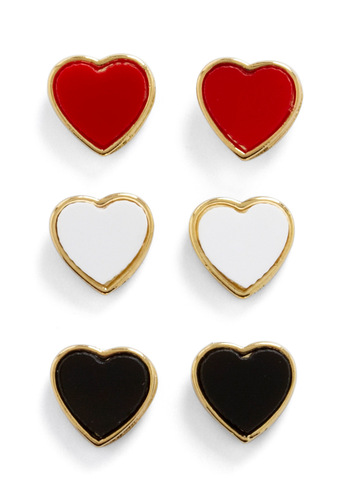 The Heartbeat is On Earring Set - Red, Black, White