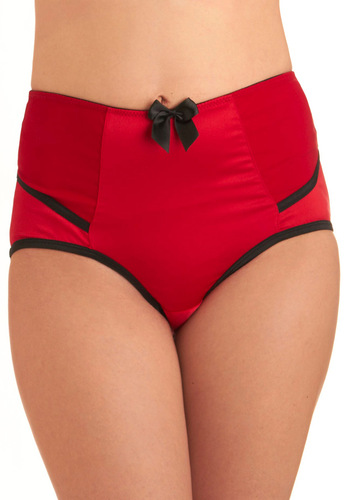 At Your Armoire Undies - Red, Black, Solid, Bows, Trim, Vintage Inspired, Pinup, Variation