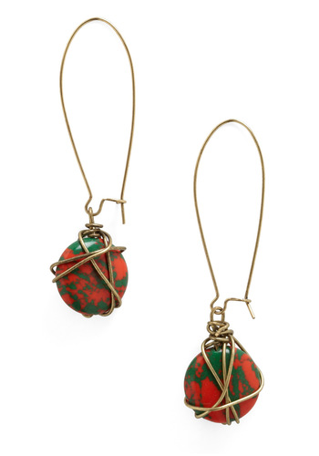 The Secret Stone Earrings - Green, Red