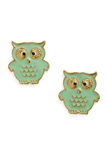 A Little Owl Told Me Earrings - Green, Gold, Owls, Pastel, Quirky