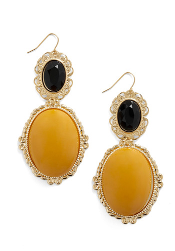 Bold Beauty Earrings - Yellow, Black, Party, Statement