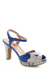The Skin You're In Heel by Miz Mooz - Blue, Tan / Cream, Animal Print, Party, Blue, Grey