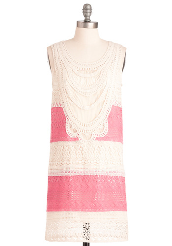 Love is in the Era Dress - Mid-length, Casual, Vintage Inspired, 20s, Cream, Pink, Stripes, Floral, Lace