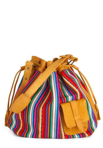 Sightseeing in Socorro Bag - Multi, Red, Orange, Yellow, Green, Blue, Purple, Pink, White, Stripes, Pockets, Tassles, Boho, Handmade & DIY, Summer, Folk Art