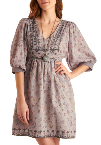 Community Theater Dress - Boho, Grey, Pink, Floral, Embroidery, A-line, 3/4 Sleeve, Print, Mid-length
