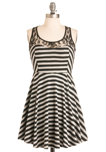 Jersey Twirl Dress - Short, Casual, Urban, Black, White, Stripes, Lace, Mini, Sleeveless, Print