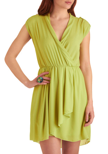 Glowing Personality Dress - Short, Green, Solid, Buttons, Epaulets, Ruffles, Casual, Mini, Cap Sleeves, Spring