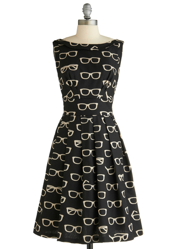 Frames and Fortune Dress by Eva Franco - Mid-length, Black, White, Novelty Print, Pleats, A-line, Sleeveless, Statement, Party, Vintage Inspired, Quirky, Best Seller, Best, Exclusives, Work, Top Rated, Gifts Sale
