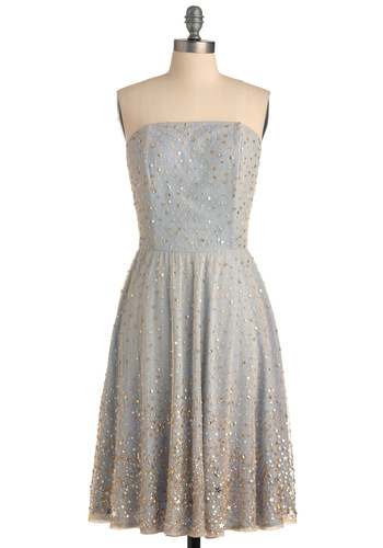 Beneath the Stars Dress - Statement, Fairytale, Gold, Solid, Sequins, Sheath / Shift, Strapless, Formal, Prom, Blue, Long