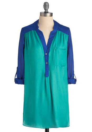 Pam Breeze-ly Tunic in Turquoise - Blue, 3/4 Sleeve, Casual, Buttons, Pockets, Long, Button Down, V Neck, Variation, Beach/Resort, Sheer, Basic, Best Seller, Gifts Sale