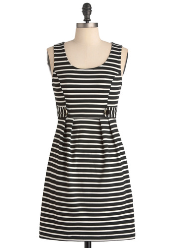 I'll Have My Regular Dress - Casual, Black, White, Stripes, Buttons, Pleats, Sheath / Shift, Sleeveless, Short