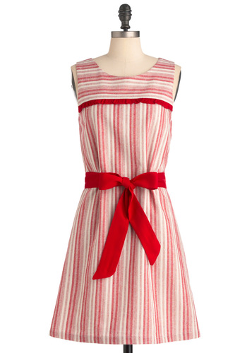 Strawberry Sunday Dress - Mid-length, Casual, A-line, Sleeveless, Red, White, Stripes, Bows, Ruffles, Nautical, Print