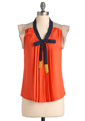 Aw Shucks Top - Orange, Blue, Tan / Cream, Cap Sleeves, Multi, Yellow, Bows, Pleats, Work, Nautical, Mid-length, Neon, Tie Neck, Colorblocking, V Neck