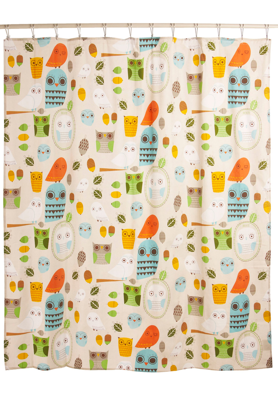 Shower Power Shower Curtain In Owl Clean Mod Retro