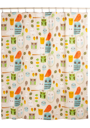 Shower Power Shower Curtain in Owl Clean - Multi, Dorm Decor, Owls, Cotton, Best Seller, Best Seller, Mid-Century, Top Rated