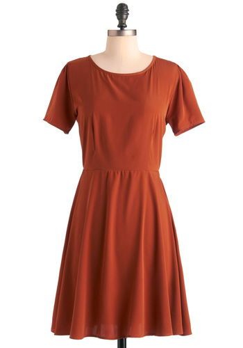 Redwood Wonderland Dress - Mid-length, Casual, Orange, Solid, A-line, Short Sleeves, Fall