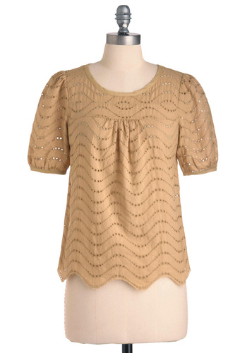 You Tan Do It Top - Mid-length, Tan, Solid, Eyelet, Short Sleeves, Scallops, Casual