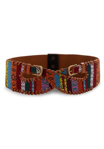 Weaves of Grass Belt - Brown, Multi, Stripes, Woven, Red, Orange, Yellow, Green, Blue, Pink, White, Buckles, Embroidery, Boho