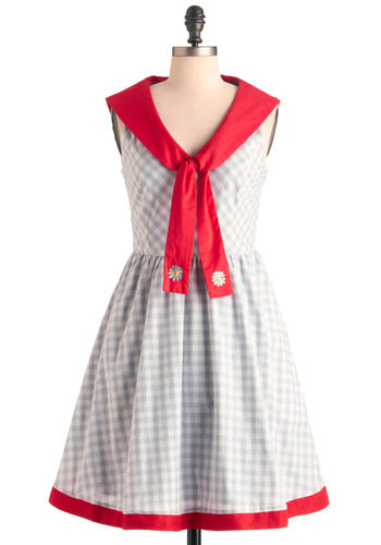 Coastal Conservatory Dress by Knitted Dove - Mid-length, Casual, Nautical, Red, White, Checkered / Gingham, Embroidery, Pockets, A-line, Sleeveless, Summer, Print, Multi, Grey, Fit & Flare