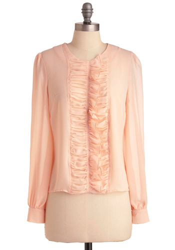 State of the Mozart Top - Mid-length, Pink, Solid, Ruffles, Long Sleeve, Buttons