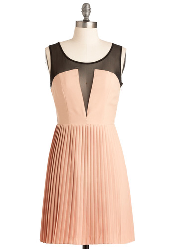 A Winning Style Dress - Pink, Black, Pleats, Party, Shift, Sleeveless, Scoop, Summer, Short
