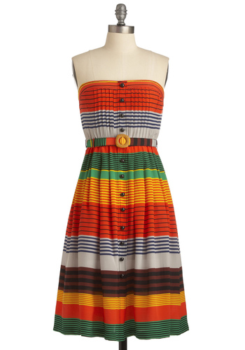 Plenty by Tracy Reese Phoenix Sunrises Dress by Plenty by Tracy Reese - Casual, Multi, Red, Yellow, Green, Blue, Stripes, Pleats, Strapless, Summer, Long