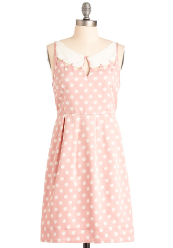Steffy's Pros and Cons Dress - Mid-length, Pink, White, Polka Dots, Buttons, Pleats, Sleeveless, Casual, Spring, Pastel, Vintage Inspired, A-line