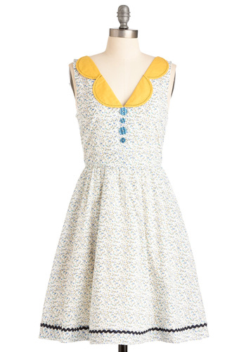 Bobbin to the Beat Dress by Knitted Dove - Mid-length, Party, Multi, Yellow, Blue, White, Floral, Buttons, Trim, A-line, Sleeveless, Spring