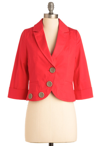 Around the Corner Blazer by Knitted Dove - Short, Red, Solid, Buttons, 3/4 Sleeve, 1