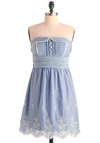 Morning Belles Dress - Casual, Blue, White, Solid, Buttons, Eyelet, Scallops, Trim, Empire, Strapless, Spring, Mid-length