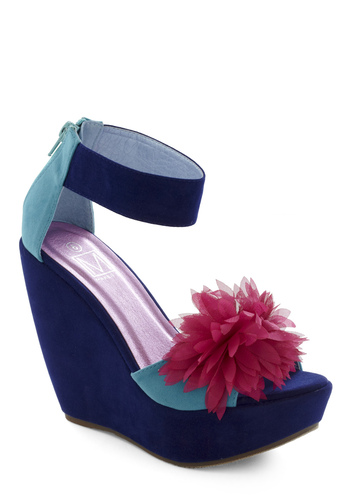 Resort's Best Dressed Wedge - Blue, Pink, Flower, Party, Spring, Wedge