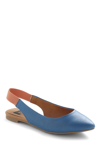Front Porch Swing Flat by BC Shoes - Blue, Solid