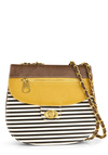 Cupcake Contest Shoulder Bag in Brown - Black, Stripes, Buckles, Chain, Multi, Yellow, Brown, White