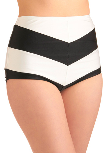 Chevron the Boardwalk Swimsuit Bottom by Fables by Barrie - Casual, Stripes, Black, White, Summer, Knit, High Waist