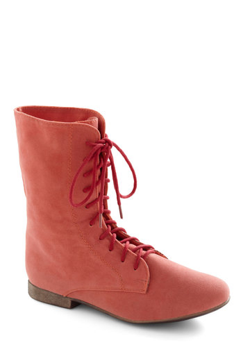 Lady in Rad Boot in Salmon - Solid, Casual, Orange, Faux Leather, Lace Up, Low, Coral, Variation, Best Seller