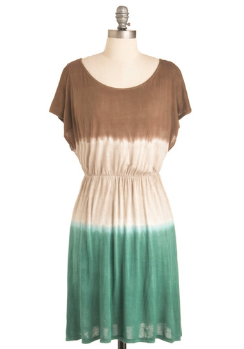 Skipping Merrily Dress - Casual, Green, Brown, Tan / Cream, Tie Dye, Boho, Vintage Inspired, 70s, Sheath / Shift, Short Sleeves, Summer, Short