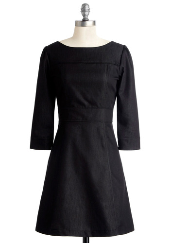 Jean on Me Dress - Mid-length, Black, Solid, A-line, 3/4 Sleeve, Exclusives