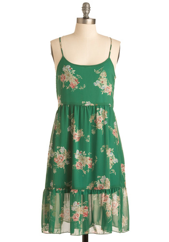 In Your Vase Dress - Mid-length, Green, Pink, Tan / Cream, Floral, Ruffles, Slip, Spaghetti Straps, 90s, Sheer, Tis the Season Sale