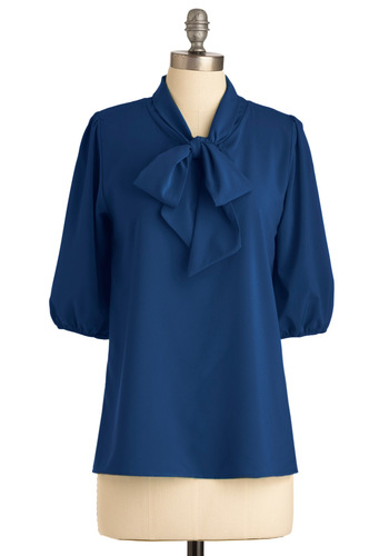 Des Colores Top in Navy - Mid-length, Blue, Solid, 3/4 Sleeve, Bows, Work