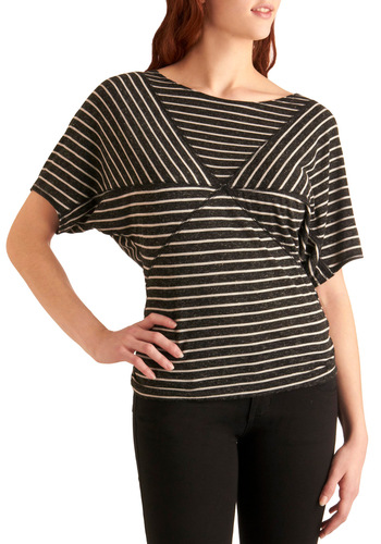 Stripe the Slate Clean Top - Grey, White, Casual, Stripes, Short Sleeves, Mid-length, Boat