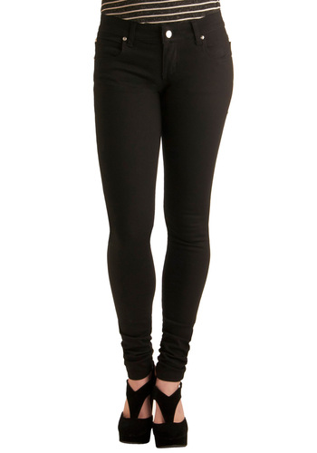 In the Onyx of Time Jeans - Long, Black, Solid, Pockets, Denim