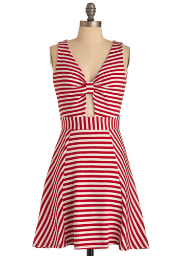 Peppermint for You Dress - Mid-length, White, Stripes, Cutout, A-line, Sleeveless, Red, Casual, Nautical, Summer, Print, Spring, Variation