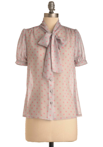 Tiny Cupcakes Top - Grey, Pink, Polka Dots, Bows, Buttons, Short Sleeves, Work, Spring, Mid-length