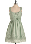 Mint Milkshake Dress - Mid-length, Green, Solid, Pleats, Flower, A-line, Tank top (2 thick straps), Eyelet, Casual, Fit & Flare, Pastel, Cotton, Mint