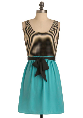 Tidal Cool Dress - Mid-length, Casual, Blue, Black, White, Stripes, Twofer, Sleeveless