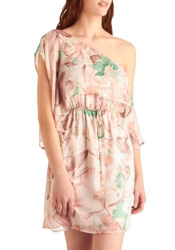 A Gust of Grace Dress - Mid-length, Pink, Green, Floral, Party, One Shoulder, Summer, Print