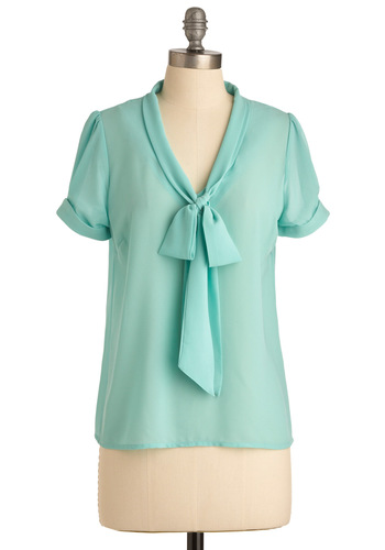 Gelato Love Top - Mid-length, Blue, Short Sleeves, Bows, Solid, Work