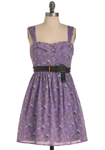 Dessert Buffet Dress - Purple, Floral, Buckles, Pleats, Tank top (2 thick straps), Blue, Brown, White, A-line, Mid-length